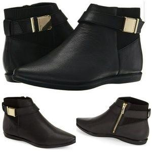 Calvin Klein Black Leather Booties Voletta, 7.5